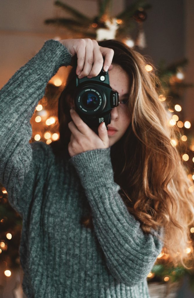 camera under the christmas tree